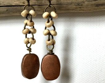 Handmade Earrings Natural Wood Beads and Copper Beads Antiqued Gold Dangles