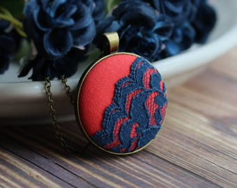 Coral And Navy Wedding Necklace, Orange And Blue Bridesmaid Jewelry
