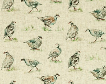 Partridge Linen Look Clarke & Clarke Animal Country Curtain Upholstery Fabric