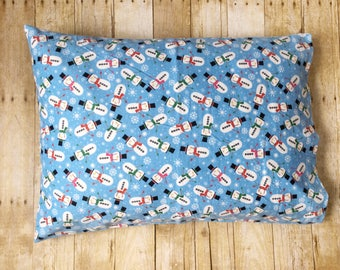 Standard Pillowcase - Flannel Pillowcase - Snowman Pillowcase - Holiday Pillowcase - Christmas Pillowcase - Child Pillowcase Christmas Gift