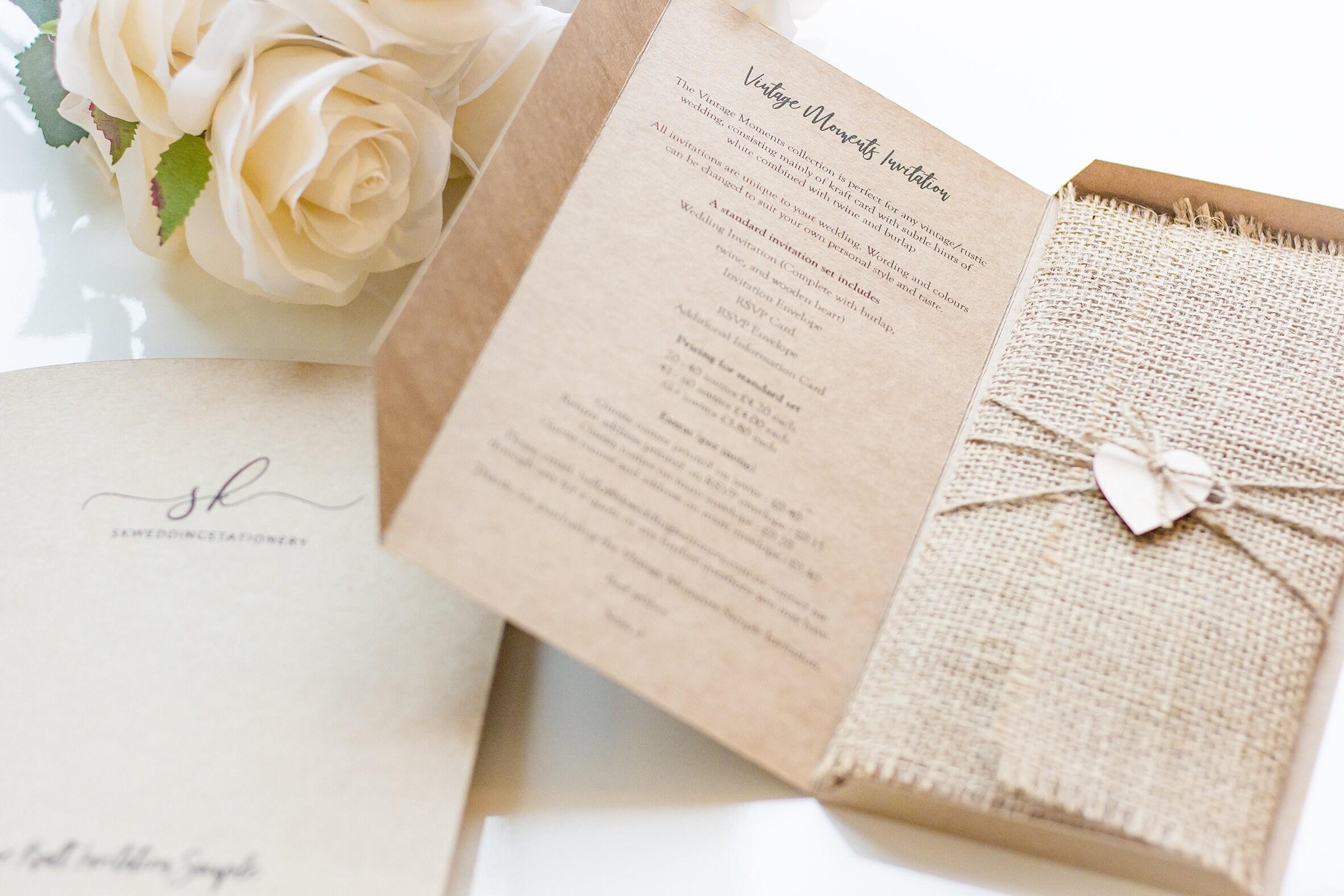 Burlap Wedding Invitation Rustic wedding invitation Vintage