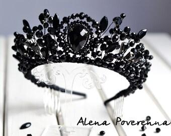Black crown, Red crown, Bridal Crown, Wedding Crown, Black Tiara, Crystal crown,  Bridal Hair Accessory, Wedding Diadem, Royal crown