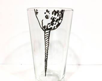 Hand Painted Animal Pint Glasses - Narwhal
