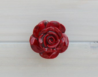 Red Rose Knob Drawer Pull Ceramic  Knob Cabinet Knob Dresser Knob
