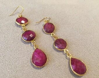 Raspberry pink ruby jade 14k gold plated dangle earrings
