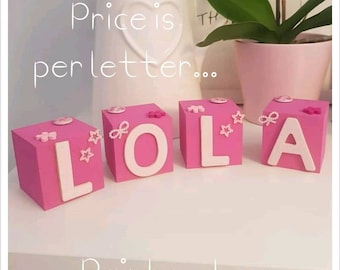 Wooden hand painted personalised all pink blocks/cubes. Nursery decor. Add name of your choice.
