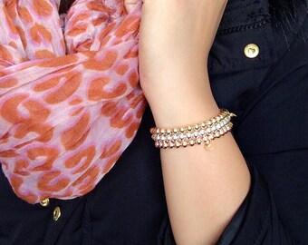 Stretchy Bead Bracelet / simple beaded bracelet / gold filled / rose gold filled / sterling silver