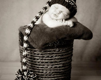 Custom Colors Newborn Night Cap / Elf Hat Photo Prop For a Boy or Girl
