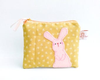 Rabbit coin purse, bunny coin purse, coin purse, coin pouch, school supplies, rabbit pouch, zipper pouch, coin wallet, rabbit purse, pouch