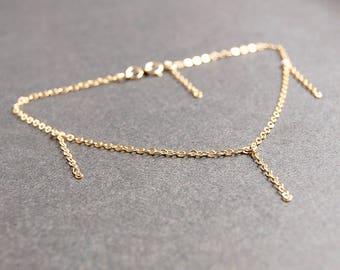 Gold Drop Anklet - gold anklet, gold filled anklet, dainty anklet, minimalist anklet, dainty gold anklet, chain anklet, gold ankle bracelet