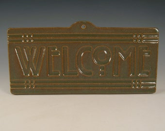 Welcome Tile - Arts & Crafts Mission - Craftsman Prairie Style Ivy green glaze