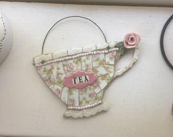 Mosaic tea cup wall hanging