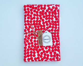 hand printed tea towel. red dots. kitchenware. 100% cotton tea towel. screenprinted tea towel. mother's day gift. scandinavian style.