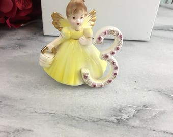 Josef Originals 3 Gift Boxed with Bow Winged Angel Girl Perfect Three holding Pail wearing Yellow Dress