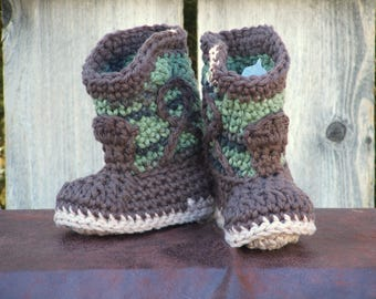 Green Camo Cowboy Booties