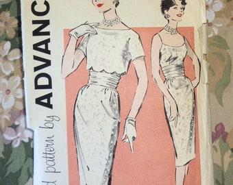 Vintage Advance 9328 Sewing Pattern 1950s-1960s Sheath Dress Jacket Cumberbund Misses 12 Cut Complete