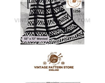 "1970s, Native American Indian design, fair isle, aran worsted afghan throw - 55"" x 72"" - Vintage PDF Knitting Pattern 1256"