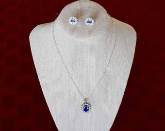 Memorial Day Sale Blue Sapphire with Bright Rhinestones Pendant Necklace and Earrings Demi-Parure Set -   GuysandDollsFashion
