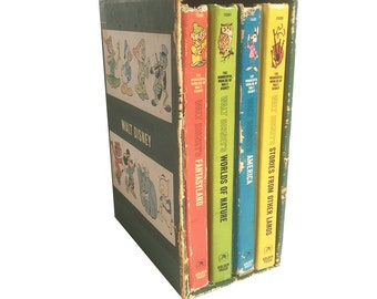 "1965 ""The Wonderful Worlds of Walt Disney"" Boxed Set of 4 Books - Disney Children's Story Books, Golden Press Walt Disney Studios"