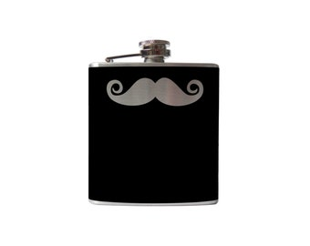 Curly Mustache Flask- alcohol, liquor, booze, wedding, bridal party, hip pocket- Personalized Custom - YOU pick COLOR