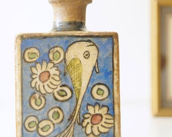 Antique (1800's) Persian bottle, ceramic tea flask fish and flower decor, Middle Eastern Qadjar