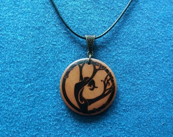 Pendant, keychain or wooden earrings: Woman tree. Pyrography by hand. Jewelry.