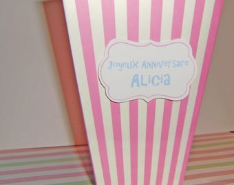 Large pink and white popcorn box personalized with your text for candy or girl birthday party decoration