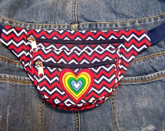 Belt Bag, Fanny pack, Hands free bag, Red White Blue, LGBTQ, Rainbow Heart