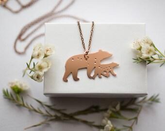 Ursa Major and Ursa Minor Mama and Baby Bear Copper Constellation Necklace