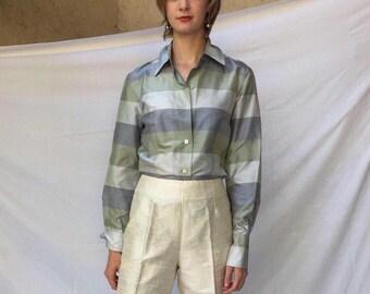 90s Ellen Tracy silk dupioni plaid blouse / silk color block blouse | s m