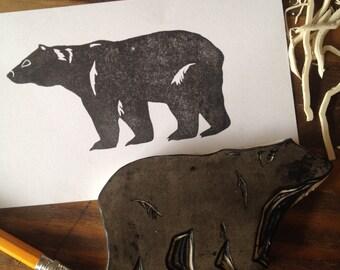 Bear Rubber Stamp | Hand Carved | Black Bear
