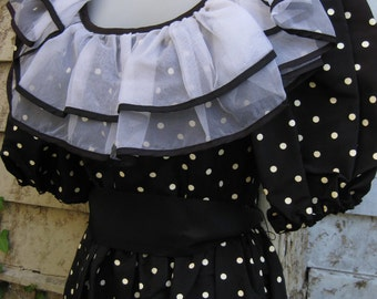 1980s formal dress Punk Rock BabyDoll RUFFLES polka dots black white dress Small size, black gothic goth or baby doll steampunk dress