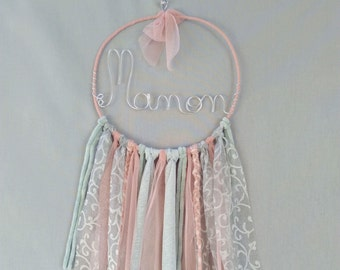 Name personalized wire, wall decor for child's room, grab-dreams-made decorative knitting