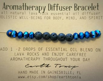 Aromatherapy Diffuser Bracelet with Natural Lava Rock and Glass Beads (Blue)