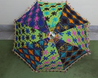 Handmade unique    Umbrella  with embroidery work ,decorative cotton parasol ,hand stitcher work  big parasol  fast  delivery