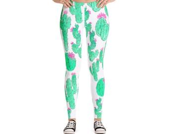 Printed Leggings - Cactus Leggings - Succulent Leggings - Workout Leggings - Yoga Leggings - Fashion Leggings