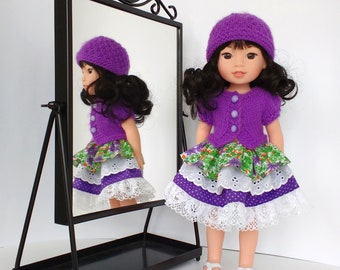 Doll clothes 14.5 inch made to fit Wellie Wishers/Hearts for Hearts, Hand knitted doll sweater/cardigan and hat with handmade ruffled dress