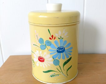 vintage Ransburg yellow flower canister