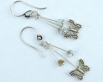 Dangle Earrings, Vintage Beads, Czech Glass Flowers, Silver Butterflies, Silver, French Hook Earwires, Handmade, Gift, Delicate Jewelry