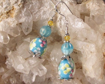 "Hand-Made Artisan Lamp Work Art Glass & Swarovski Crystal Sterling Silver Dangle Earrings, ""Sun Kissed Aqua Flora"" #105"