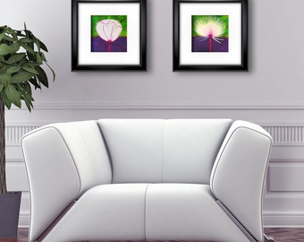 Printable art print, Set of 2 flower posters, Purple, white and green painting, Abstract Mixed media paintings for instant download, AP059