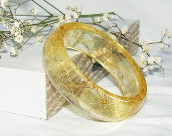 Yellow Flower Bangle Resin Jewelry, Corn Hair Bangle Resin Bracelet Gift, Real Flower Bangle Nature Jewelry, Original Bangle Gift For Her