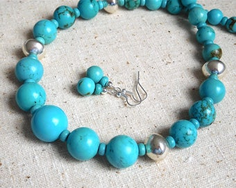 Graduated Genuine Turquoise and Silver Necklace & Earring Set (Item W54)