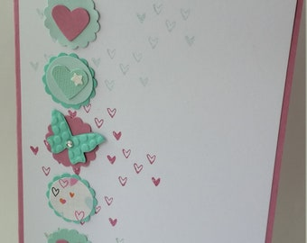 Hearts and Butterflies Thinking of You card, handmade greeting card