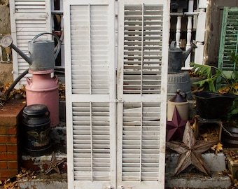 long antique louvered shutters pair of large vintage shutter doors old distressed architectural salvage