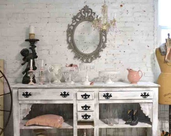 Painted Cottage Shabby Farmhouse Server/ Cabinet/ Bookcase / Linen Cabinet/ Media Cabinet