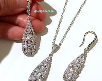 Cz Bridal Jewelry Set, Dangle Bridal Earrings, Teardrop Bridal Necklace, Silver Wedding Jewelry, Cubic Zirconia Wedding Earrings, TARA