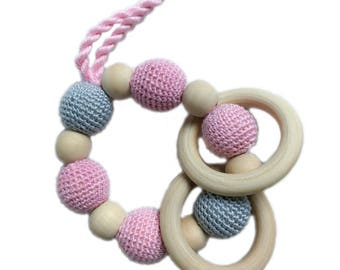 Rattle, teether wood and cotton, pink and gray pattern