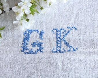 F 421 A:  antique , monogramm CORNFLOWER BLUE ; 리넨; linen; grain sack; upholstery; wedding , vintage, linne, lin,  40.94 long