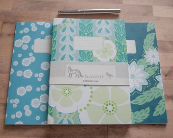 Kanzashi Willow - Set of 3 Notebooks - blues